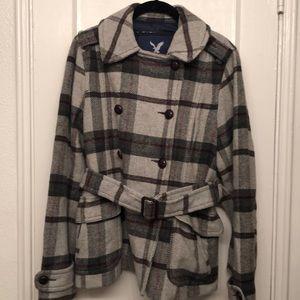 Plaid Pea Coat with belt - American Eagle